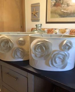 Pair of Ivory Oval Lampshades with Felt Flowers