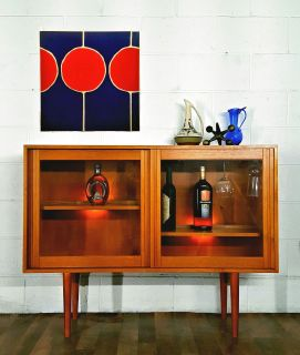 Elegant Slim Danish Modern MCM Bar Credenza Bookca