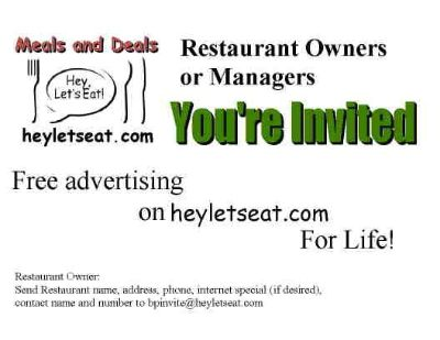 Advertise your Restaurant  for FREE heyletseat.com
