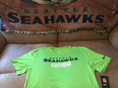 SEATTLE SEAHAWKS - Neon Nike Team Apparel Dri-Fit Shirt (Large) with NFL Logo on Back *** NEW ***