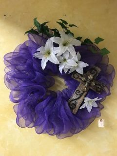 Spring Wreath With Wood/Metal Cross
