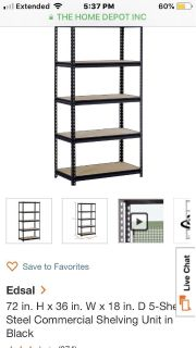 6 Steel Commercial Shelving Units