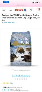 2 bags of Taste of the Wild Dog Food - Salmon and Bison