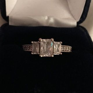 Sterling Silver, Cubic Zirconium Engagement Ring