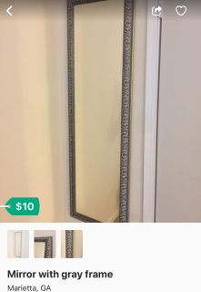 Mirror with gray frame, is in excellent condition.