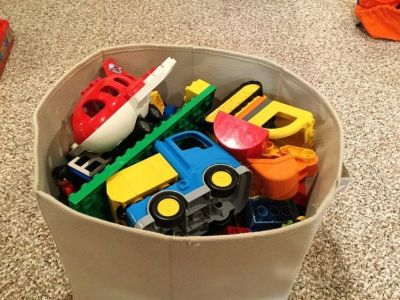Bin full of duplo legos