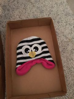 Kids black and white penguin look stocking hat