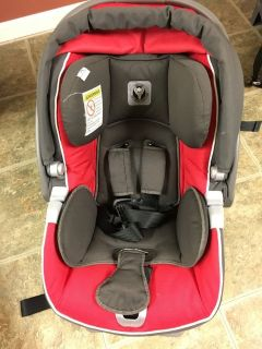 Red infant car seat and base (Peg Perego Primo Viaggio)