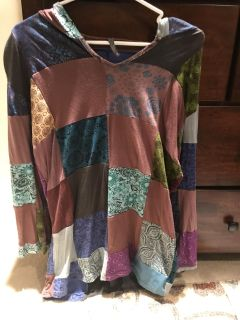 Hooded patchwork tunic