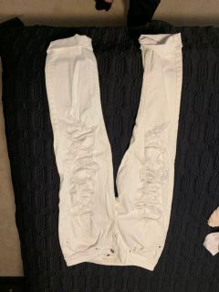 American Eagle distressed white tomgirl jeans