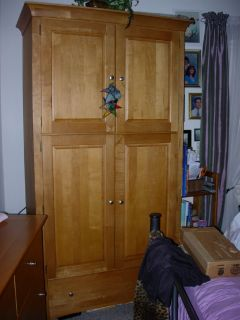 Stanley maplewood armoire , triple dresser n landscape mirror