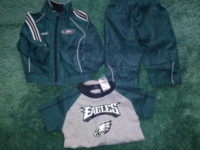 3 Piece Philadelphia Eagles Baby Clothing Lot Size 6 - 9 Months 2 Piece Windbreaker Suit Onesie