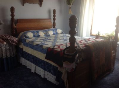 Wood frame double bed