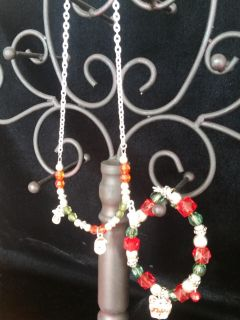 Christmas-Themed Necklace and Bracelet