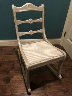 Beautiful Distressed Adult Vintage Rocking Chair for Living Room or Bedroom