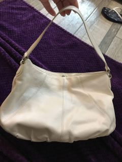 Faux leather off white bag purse with 3 inside pockets EUC