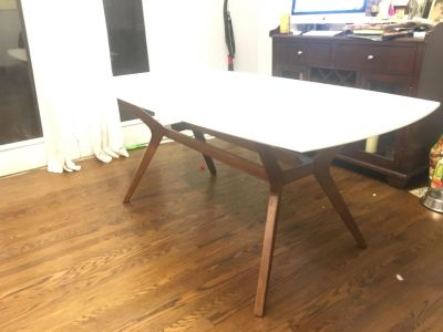 White Mid Century dining table