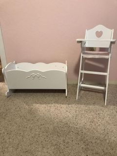 Baby doll cradle and high chair