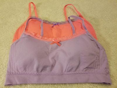 NWOT lot of 2 size L tween training type over the head style bras with removeable pads
