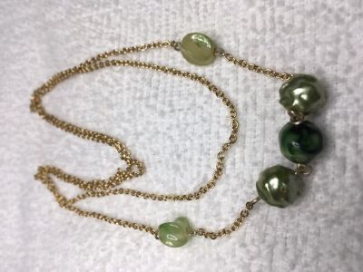 Vintage Necklace Gold Chain Green Beads Centered Long Lightweight Unusual