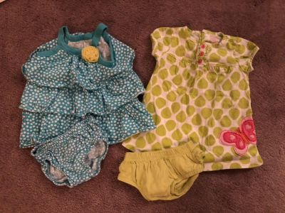 2 outfits with diaper covers 6 month