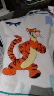"""Hand-crocheted Tigger baby afghan about 35"""" x45"""""""