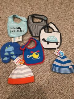Baby boy bib and hat LOT-many new w/tags!