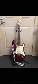 Fender Squier Stratocaster electric guitar and accessories