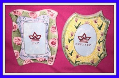 2 ceramic hand painted picture frames