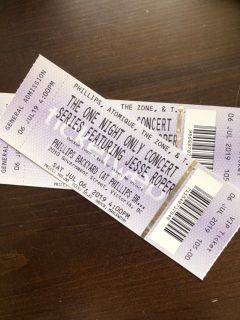 2 VIP Jesse Roper One Night Only Concert Tickets