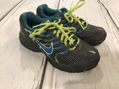 Nike Dark Grey Turquoise & Lime Green Air Max Shoes - Size 6