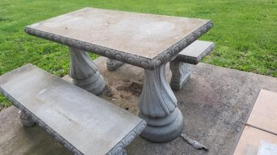 concrete Table and Bench set