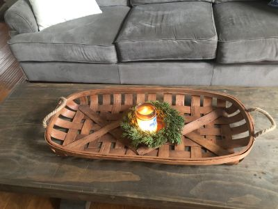 Tobacco basket tray with rope handles