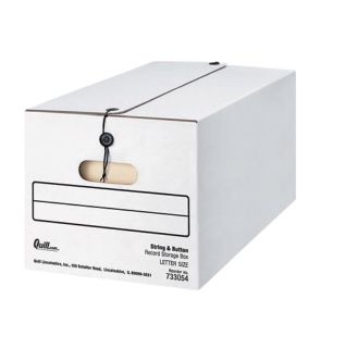 NEW! Quill Brand Basic-Duty Storage Boxes with String & Button, Letter, 12/Carton