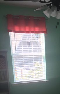 Two coral valances