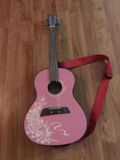 Used Pink First Act Guitar with Shoulder Strap