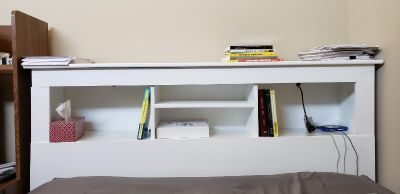 Queen Headboard/Bookshelf (Does Not Attach) With Two Lights
