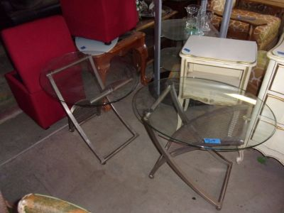 Set of Two Matching Glass Top End Tables