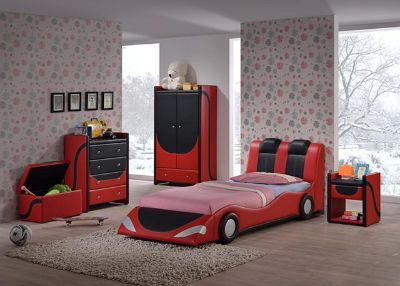 $259, G1325 Andretti Twin Upholstered Car Bed