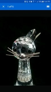 Swarovski Crystal one-eared Cat Figurine with Silver Wire Whiskers & Tail