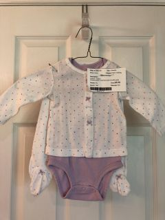 Carter s - three piece set: lavender onesie, white and polkadot jacket, and ruffle pants