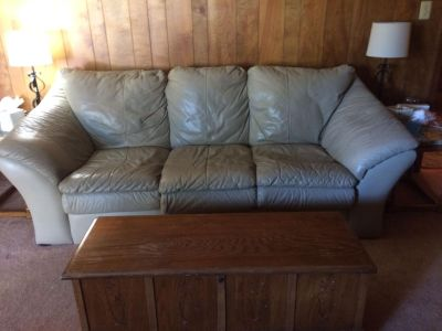 $250 tan leather couch