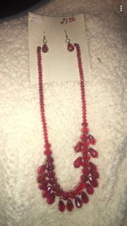 Crystal necklace and earring set-red and teal set