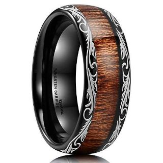 Brand new size 11 Tungsten Carbide with Koa wood inlay