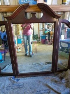 Antique solid cherry wood trifold mirror