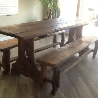 Authentic antique farmer's table n 2 benches