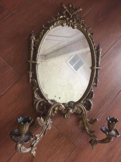 Pr of wall sconces with oval mirrors