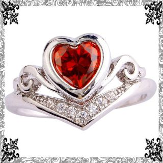NEW - Red Garnet Heart with Swirls Ring - Sizes 7 and 8