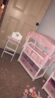 Wooden Canopy Doll Baby Bed. Wooden Highchair.