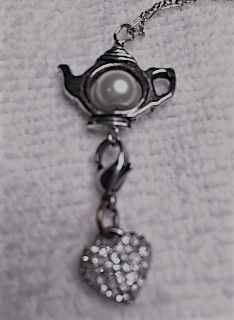 Teapot with Vintage Cling Heart Charm Pendant on Dainty Sterling Chain